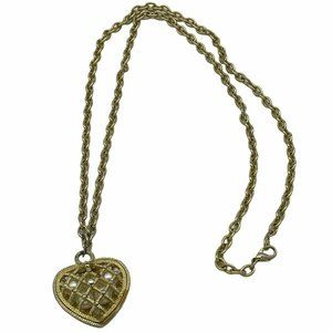 Gold Tone Chain Necklace with Heart Caged Pearls